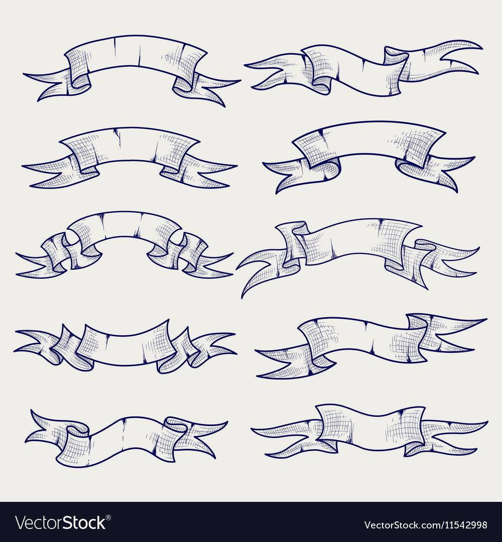Ball pen sketch of vintage ribbons vector image