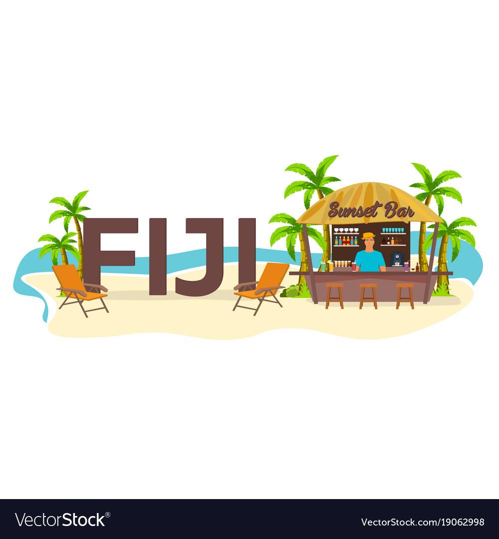 Beach bar fiji travel palm drink summer
