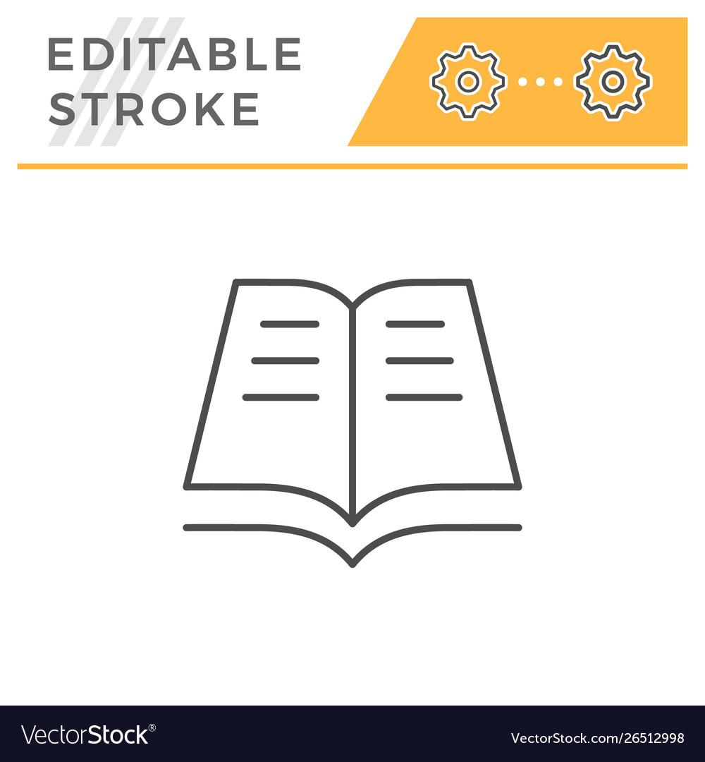Book editable stroke line icon