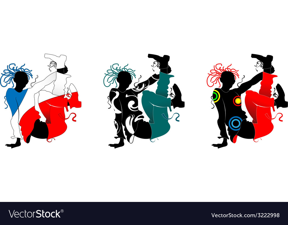 Breakdance silhouette of a man in bright clothes