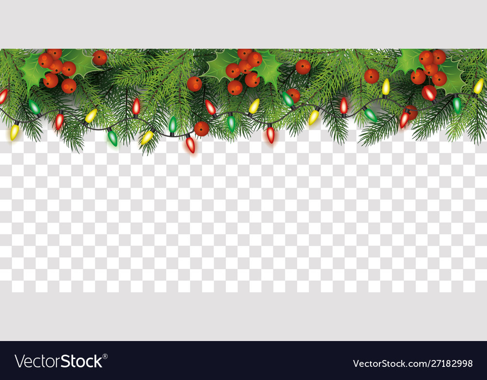Christmas Top Border.Christmas Tree Top Border Decoration With Red