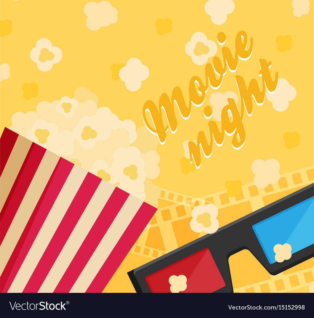 Cinema icon in flat design style movie night text