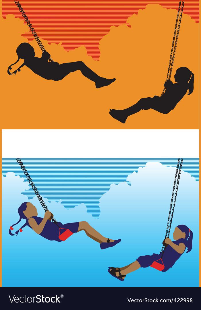 Girls on swing vector image