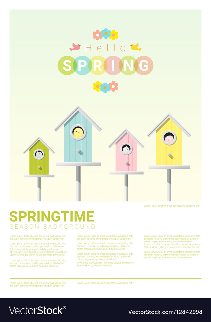Hello spring background with little birds in