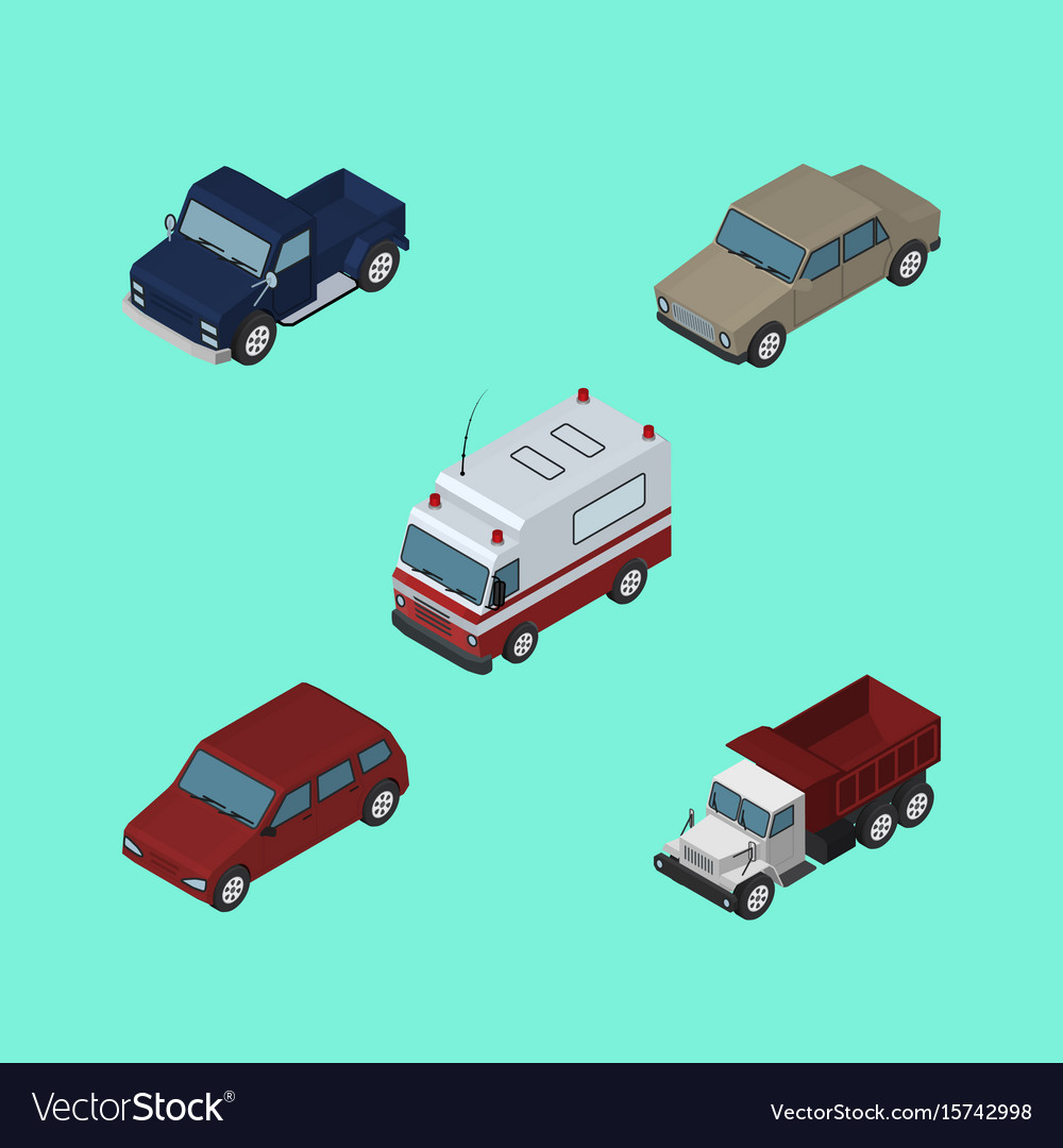 Isometric car set of first-aid auto car and