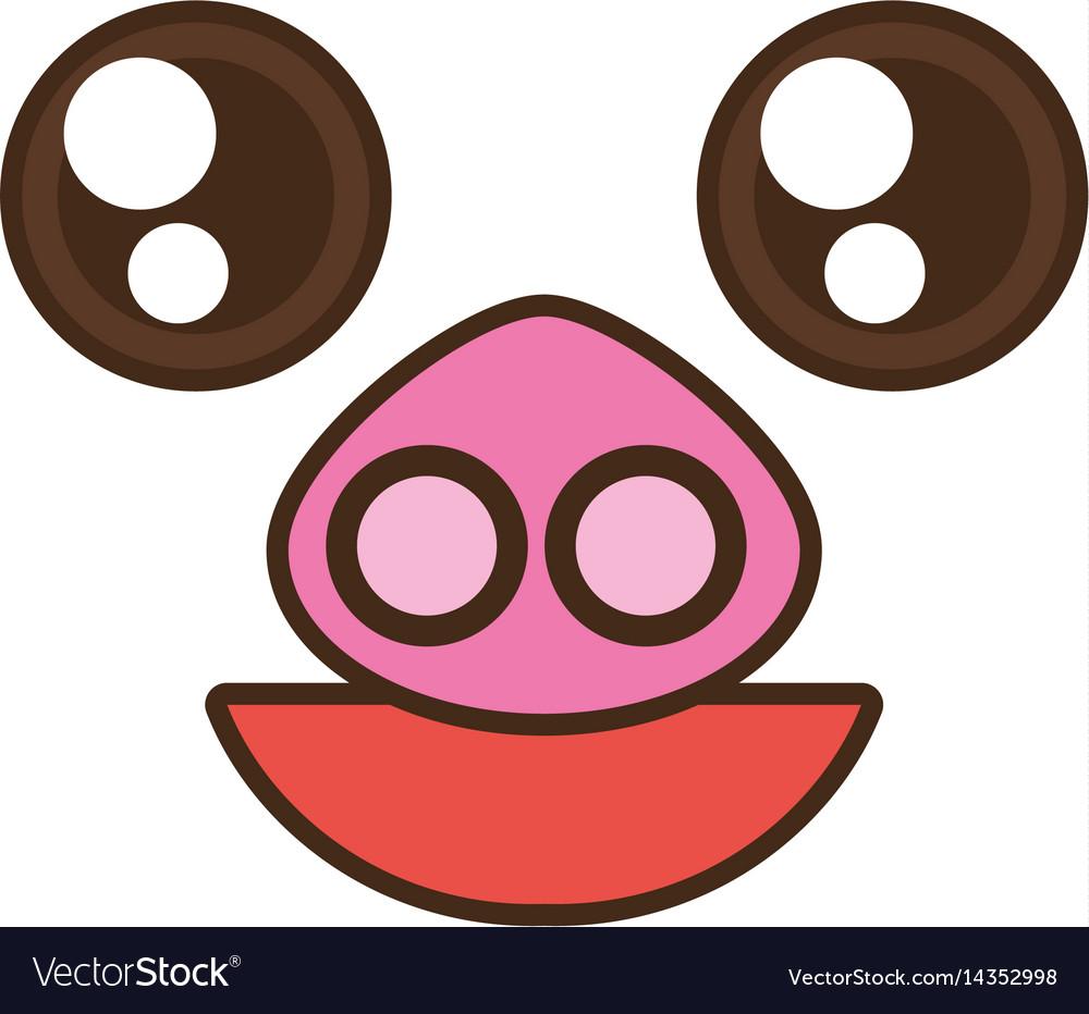 Kawaii pig cute face animal vector image