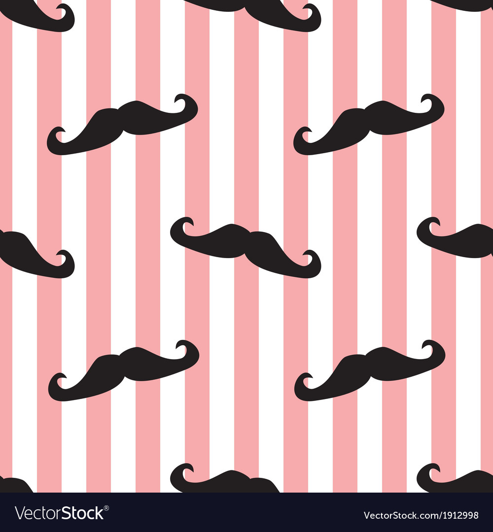 Seamless mustache and pink stripes background