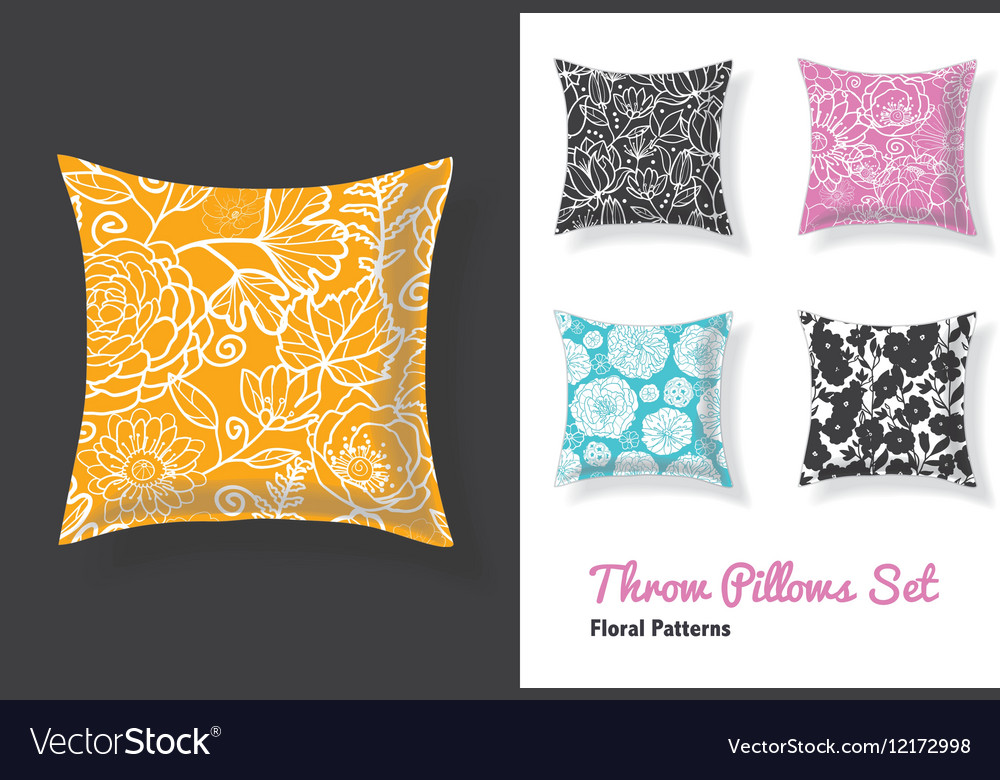 Set Of Throw Pillows In Matching Unique Floral