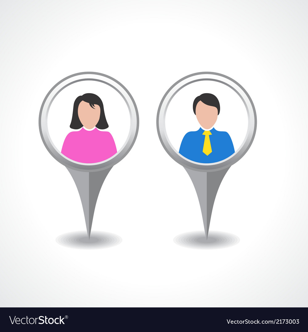 Creative Male Female Pin Symbol Design Royalty Free Vector