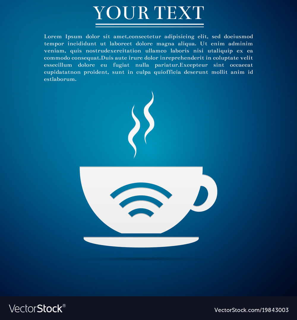 Cup of coffee shop with free wifi zone sign