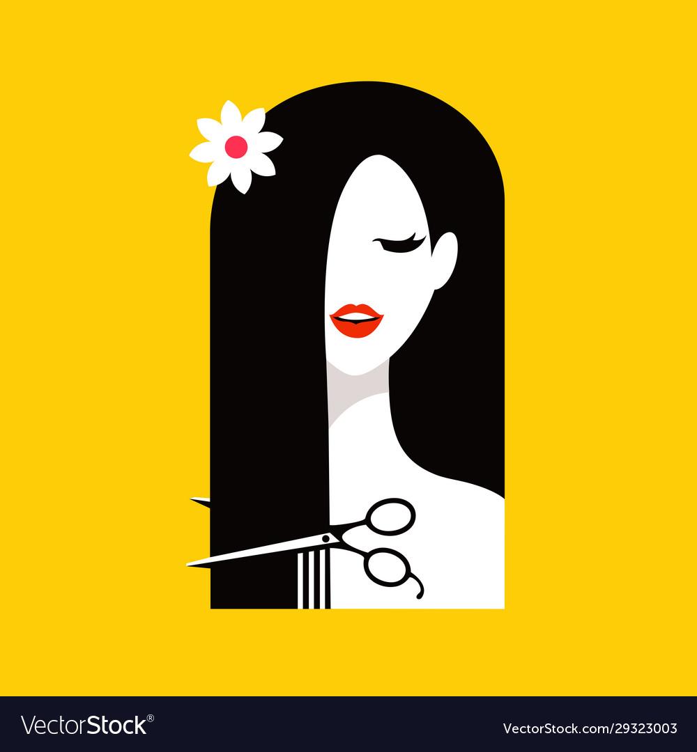 Hair salon with woman logo