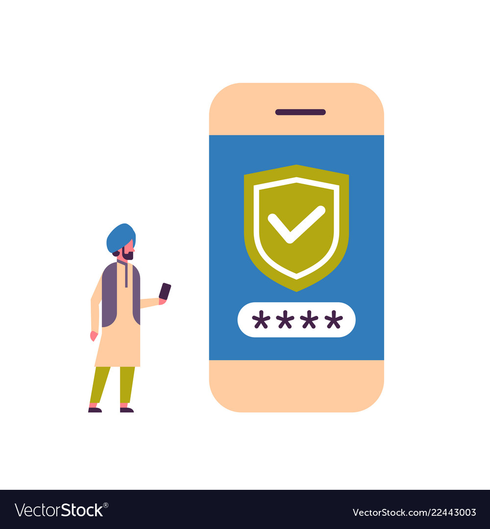 Indian man unlock smartphone verification mobile