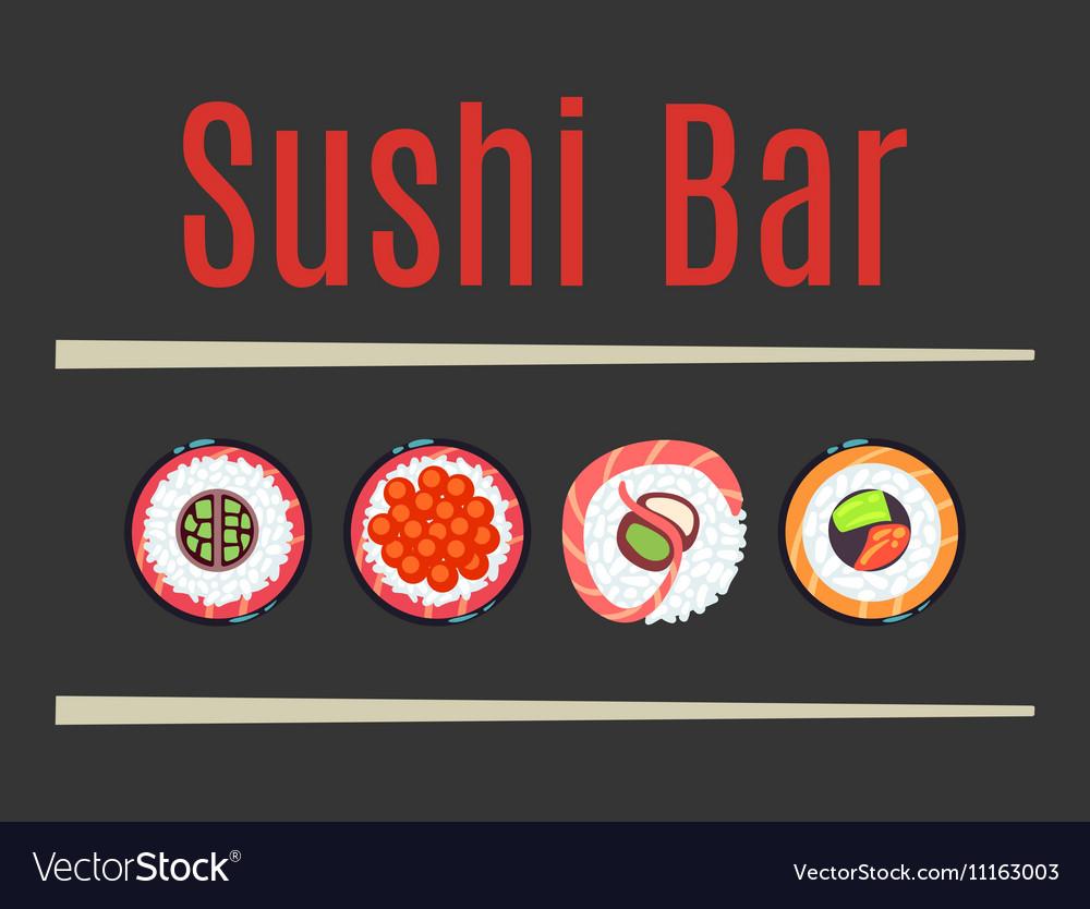 Japanese sushi bar food logo template vector image