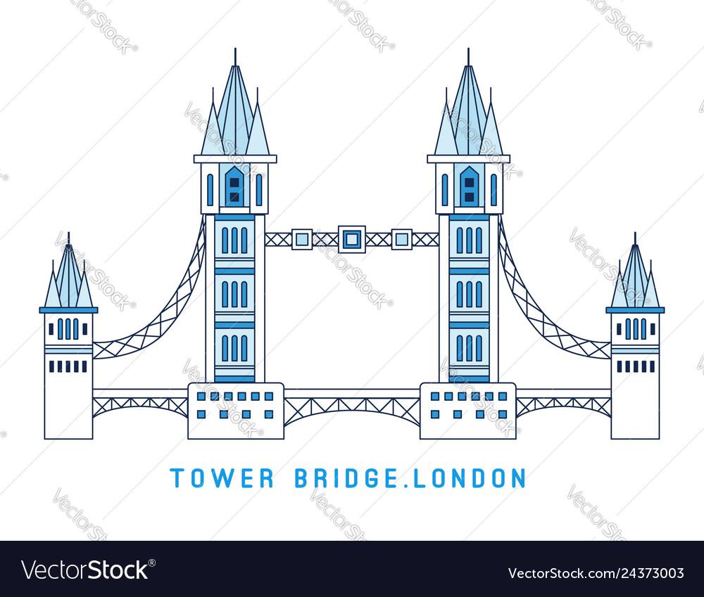 Line art tower bridge england symbol of london