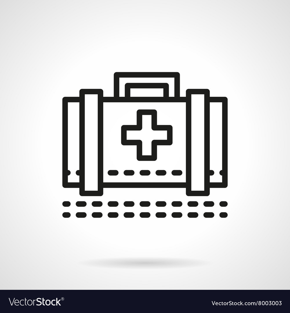 Medical case black line icon