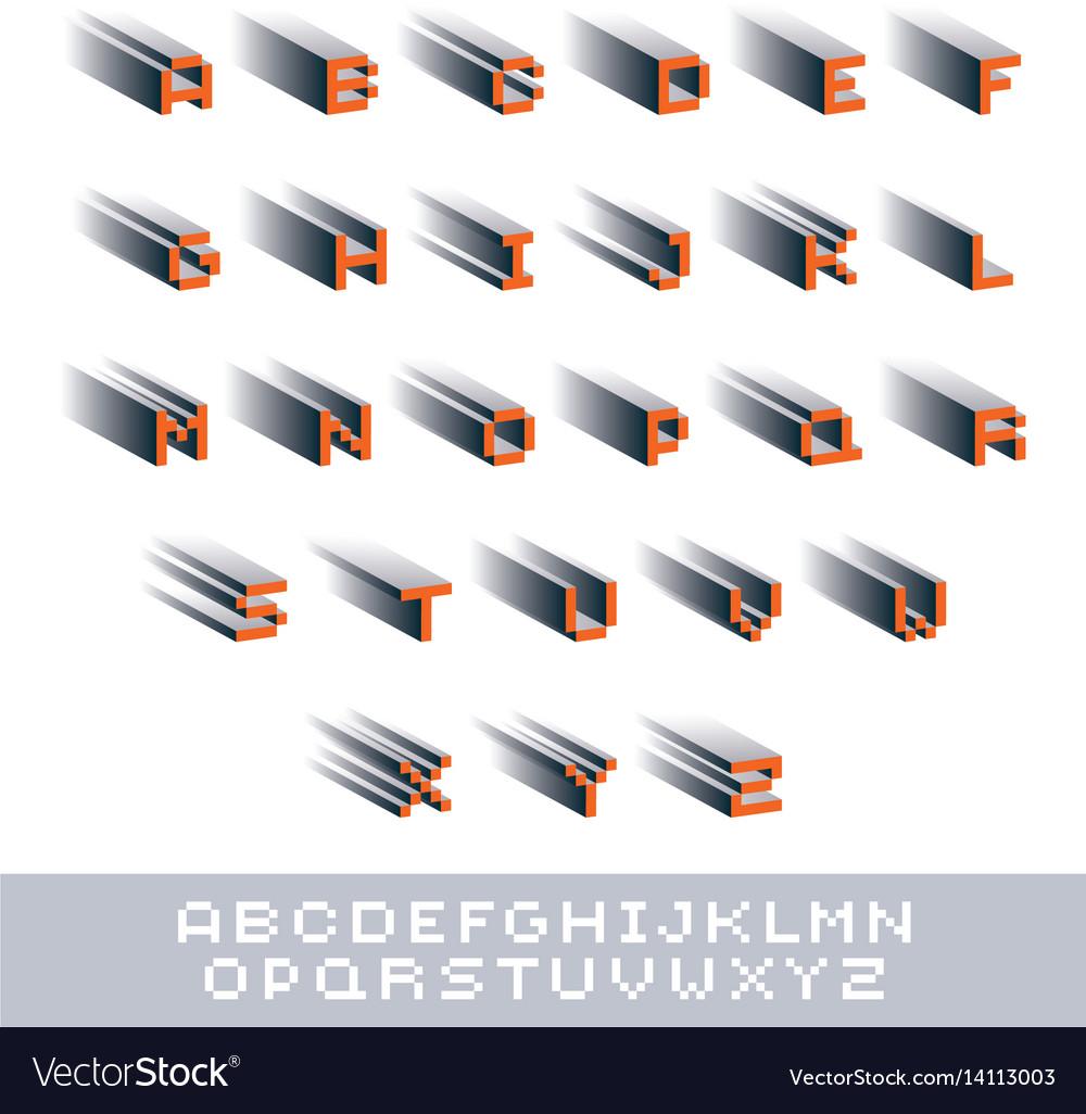 Modern tech alphabet letters set geometric