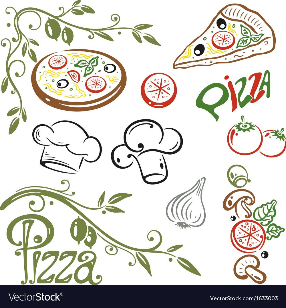 Pizza set italian food vector image