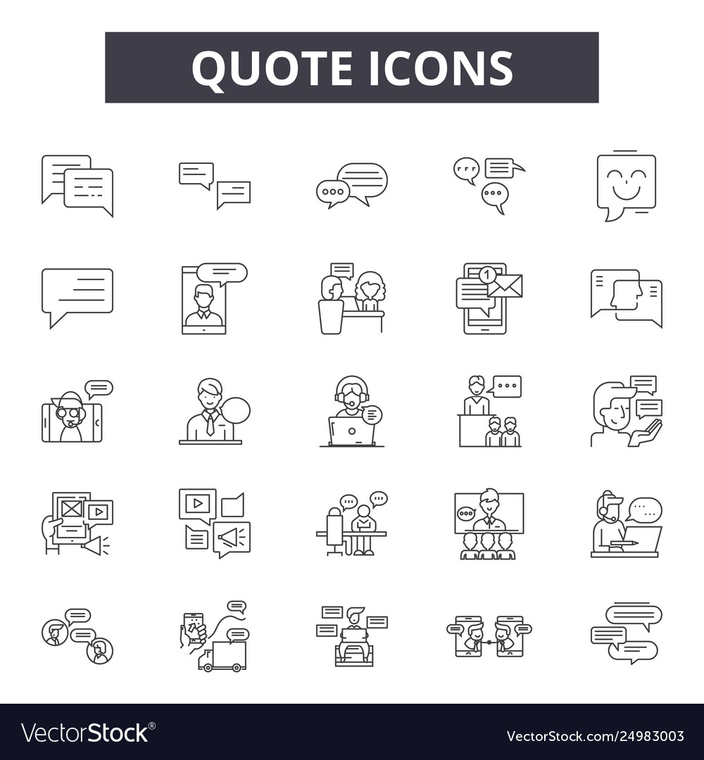 Quote line icons signs set outline