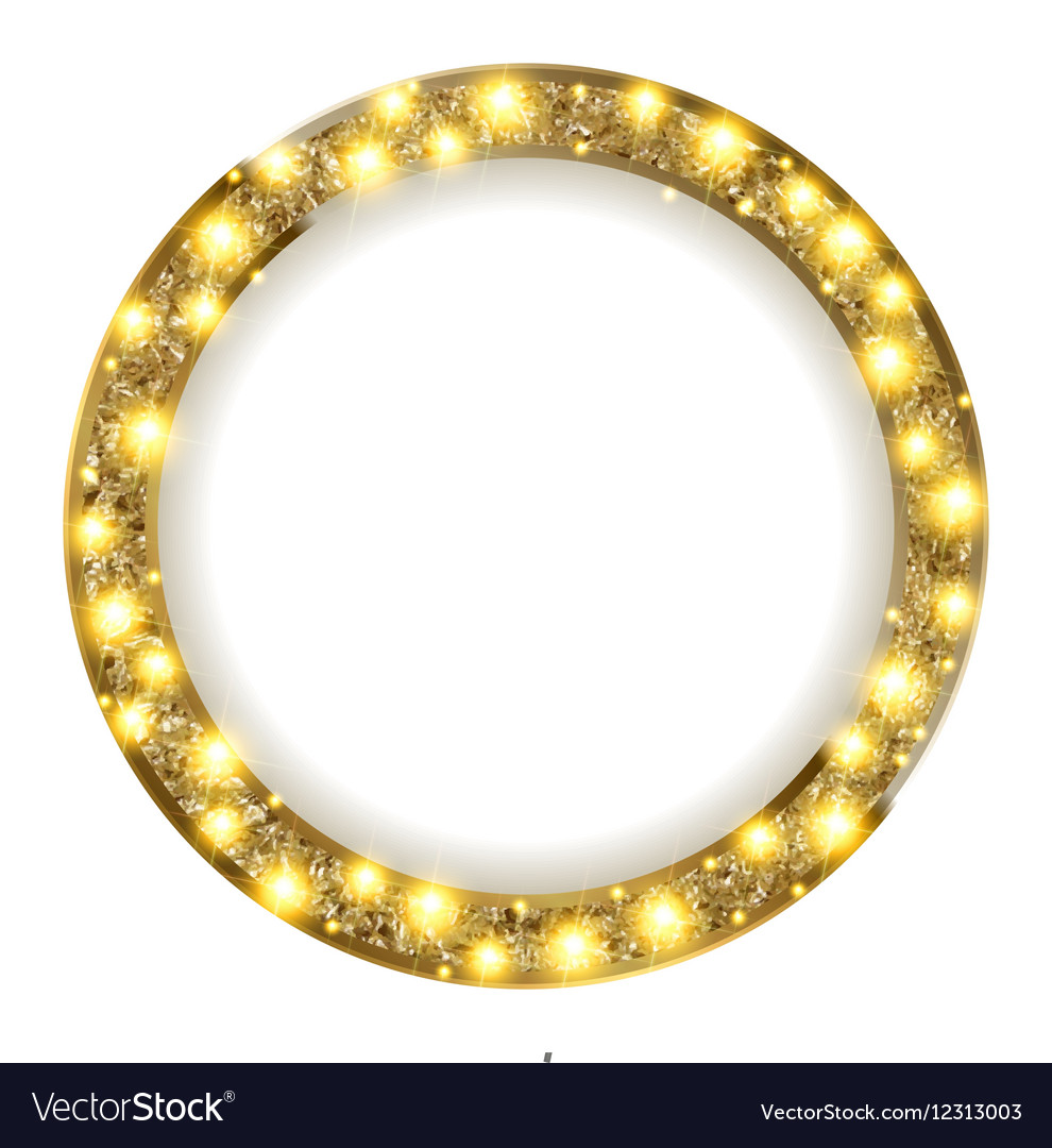 Round gold frame with lights on a light background