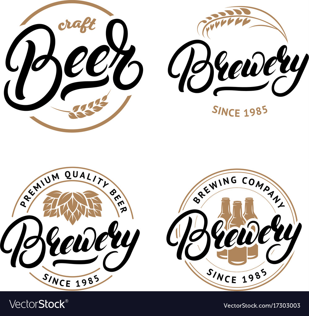 Set of beer and brewery hand written lettering