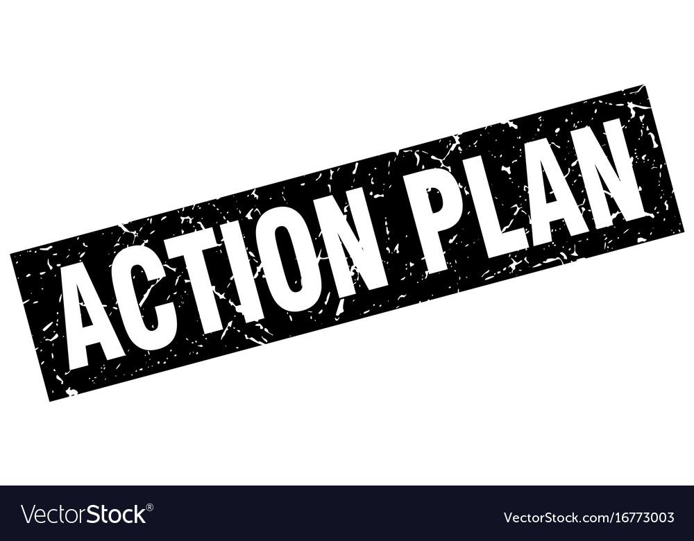 Square grunge black action plan stamp vector image on VectorStock