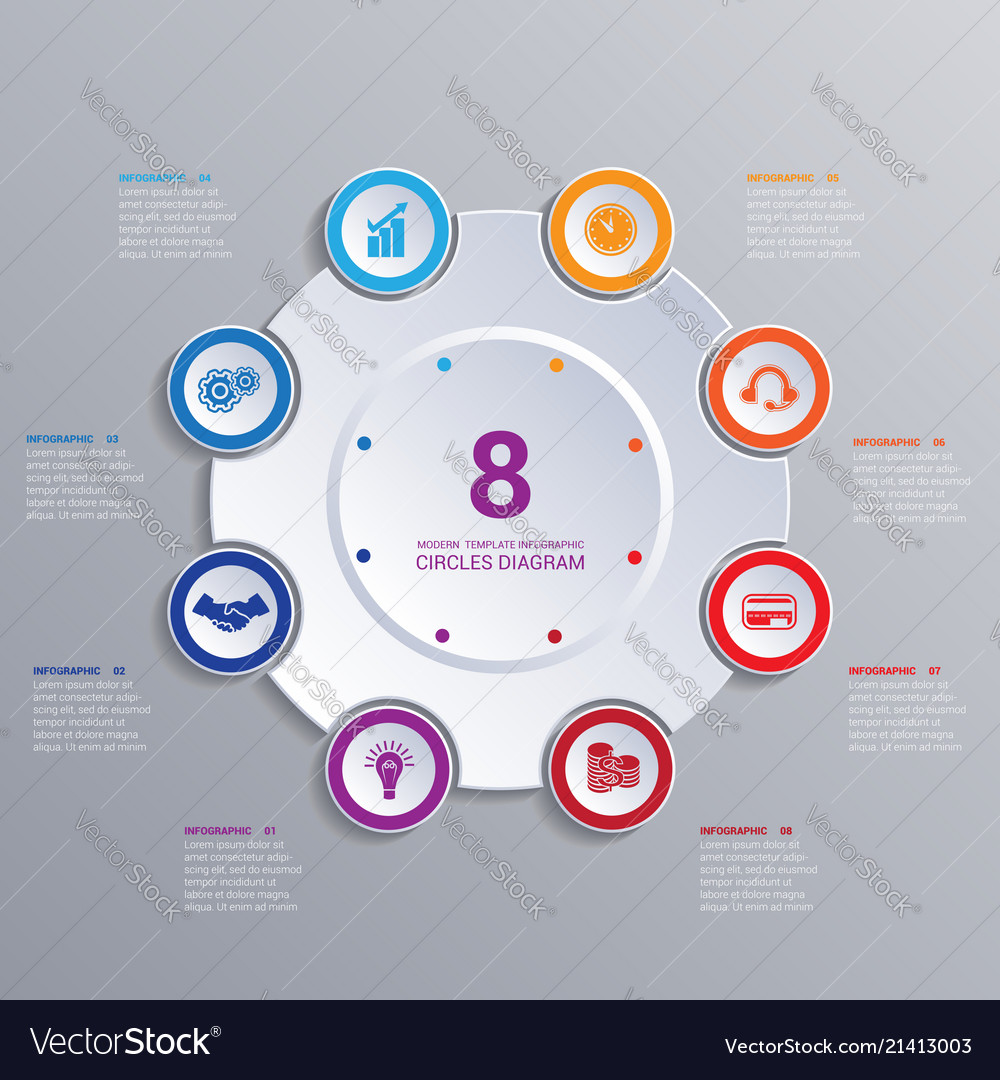 Template modern infographic for 8 options