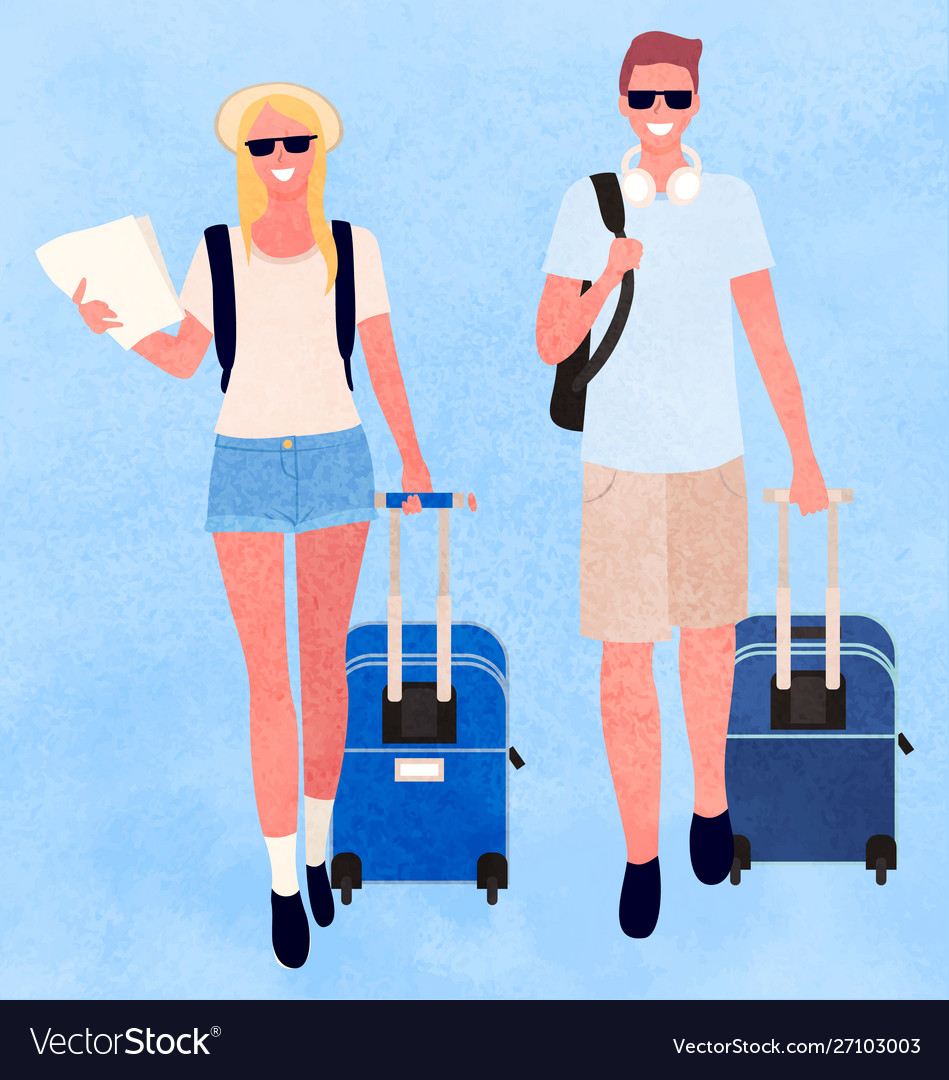 Traveling man and woman couple with bags luggage