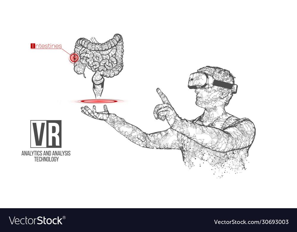 Vr wireframe headset man with intestine