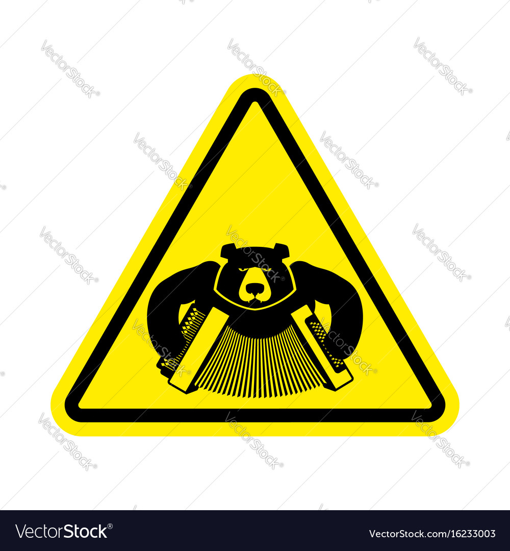 Warning russia bear with accordion with yellow