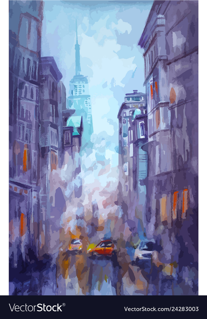 Watercolor and pastel painting of street