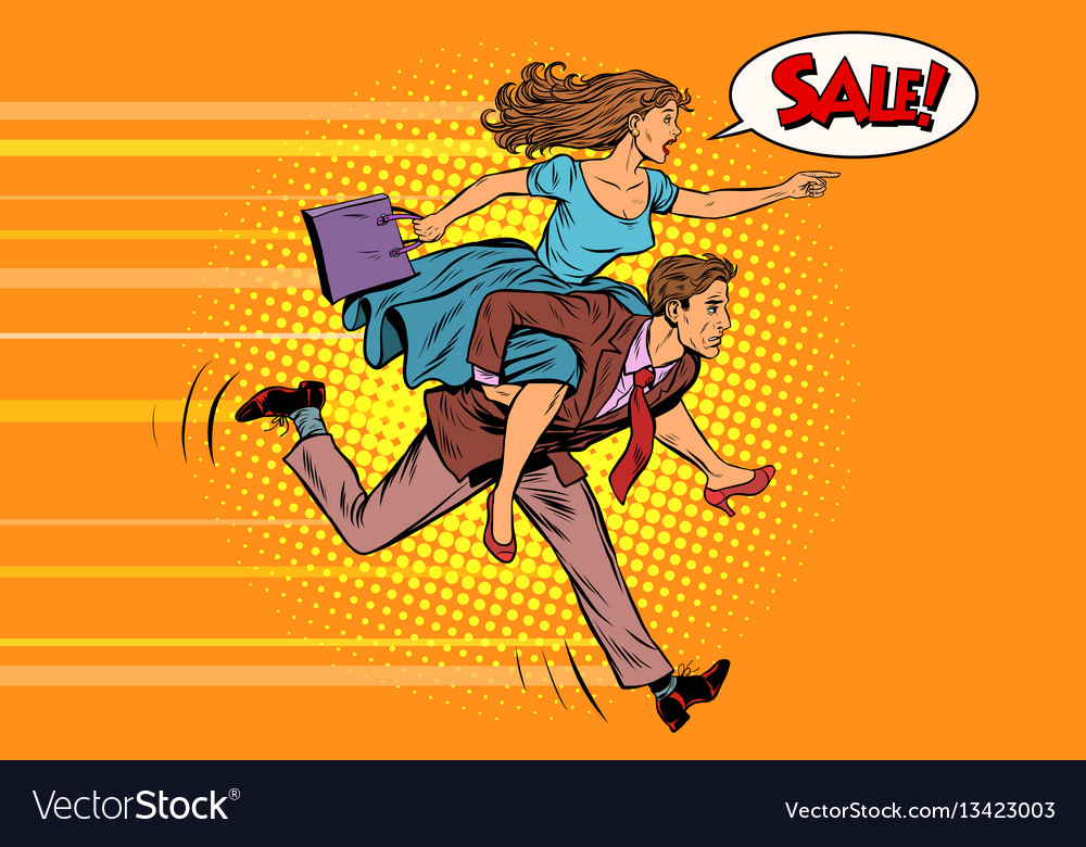 Wife riding husband runs on sale vector image