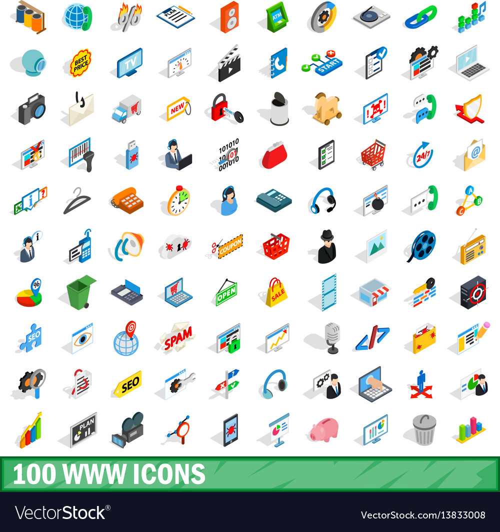 100 www icons set isometric 3d style