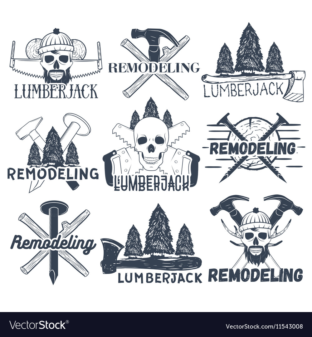 Collection of lumberjack and carpenter