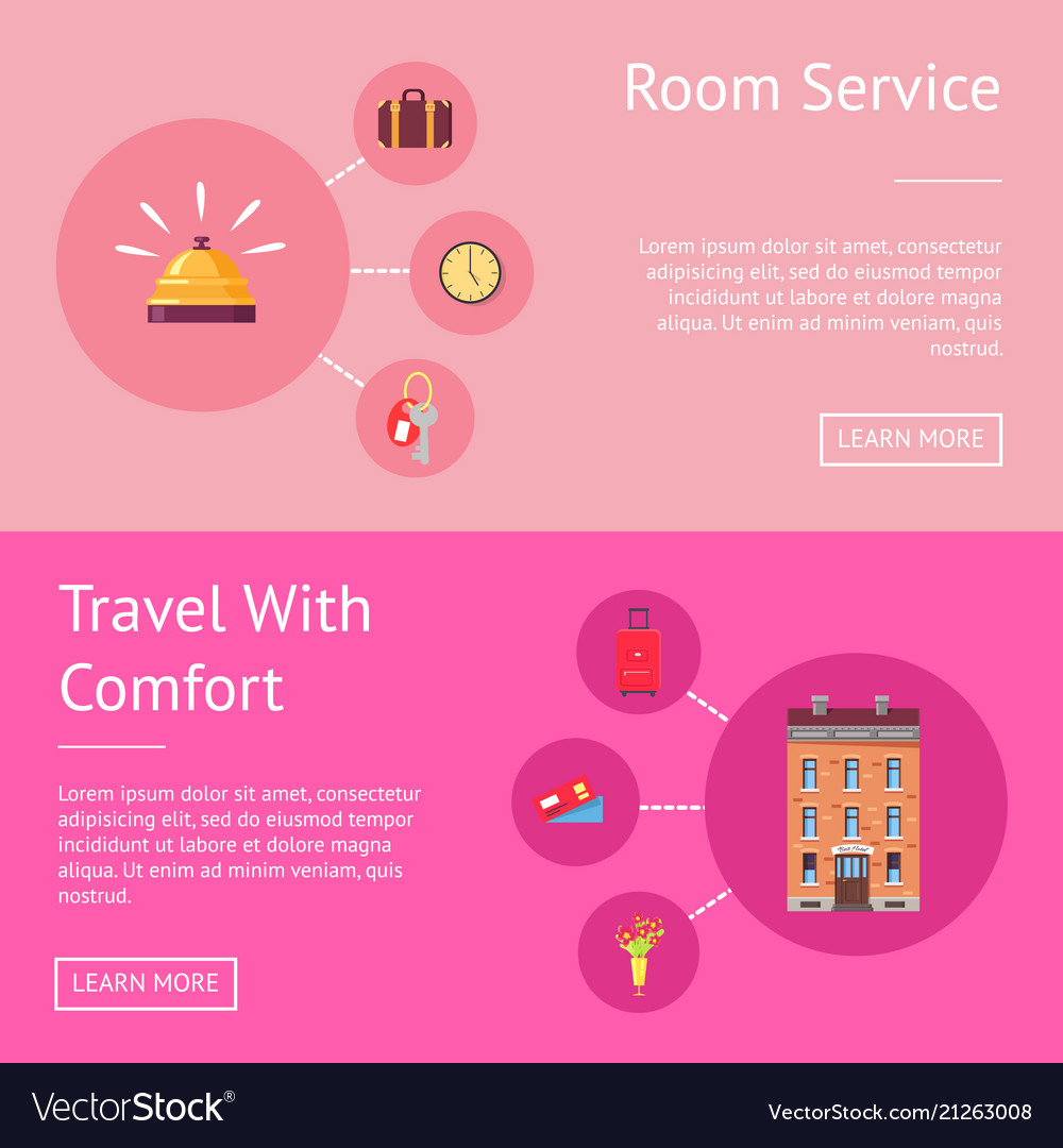 Comfort travel and room service set of banner