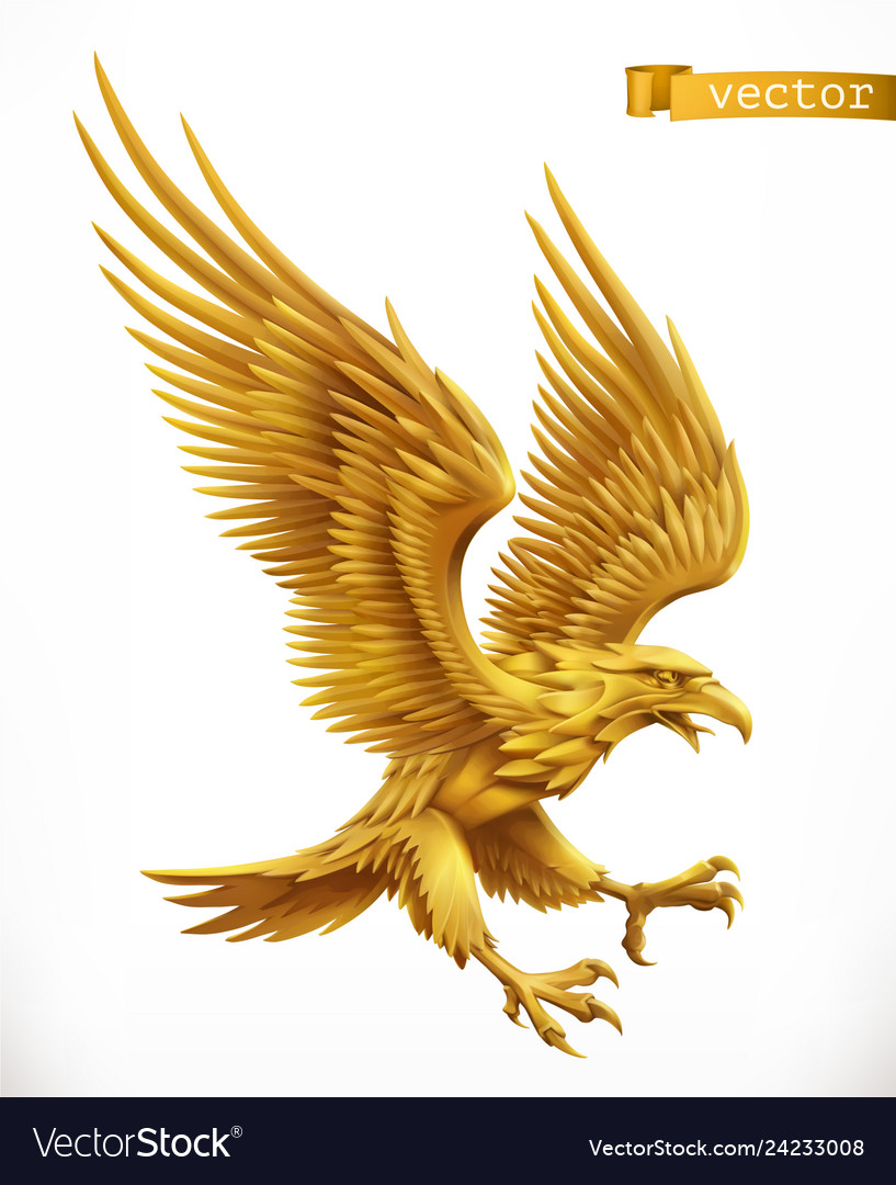 Eagle gold emblem 3d icon