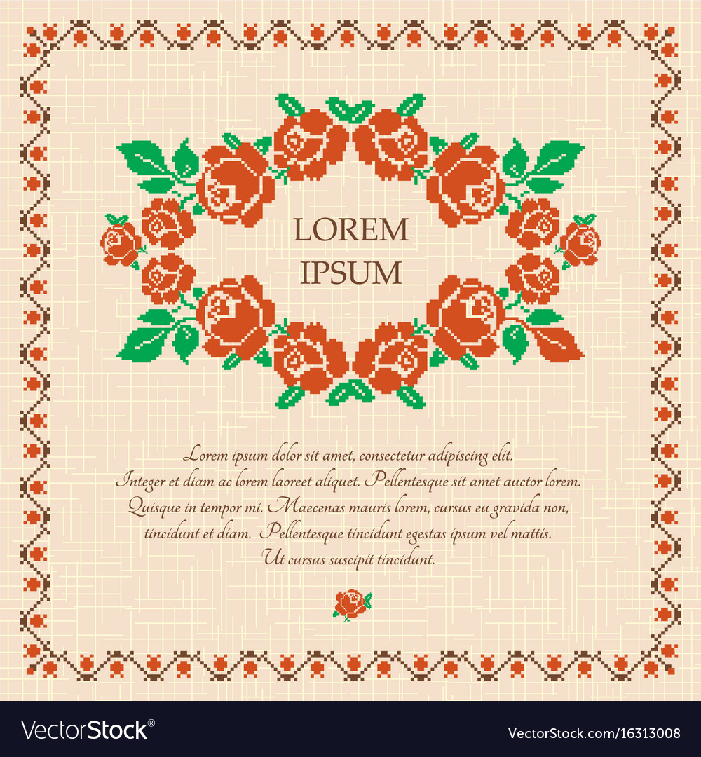 Embroidered roses background