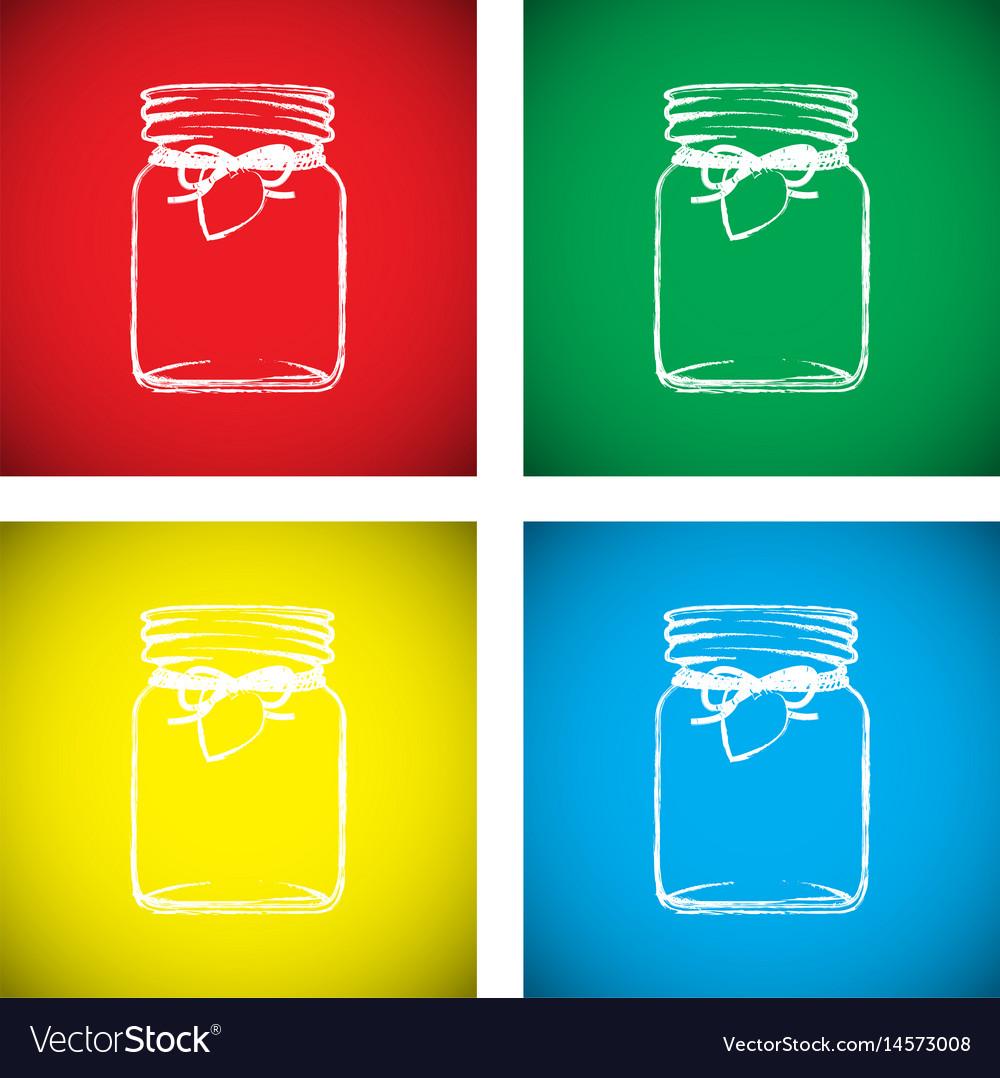 Jam jar colourful set