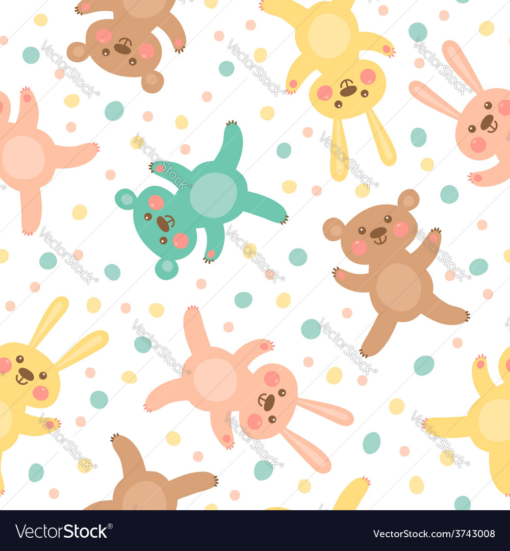 Kids seamless pattern with cute bears and hares