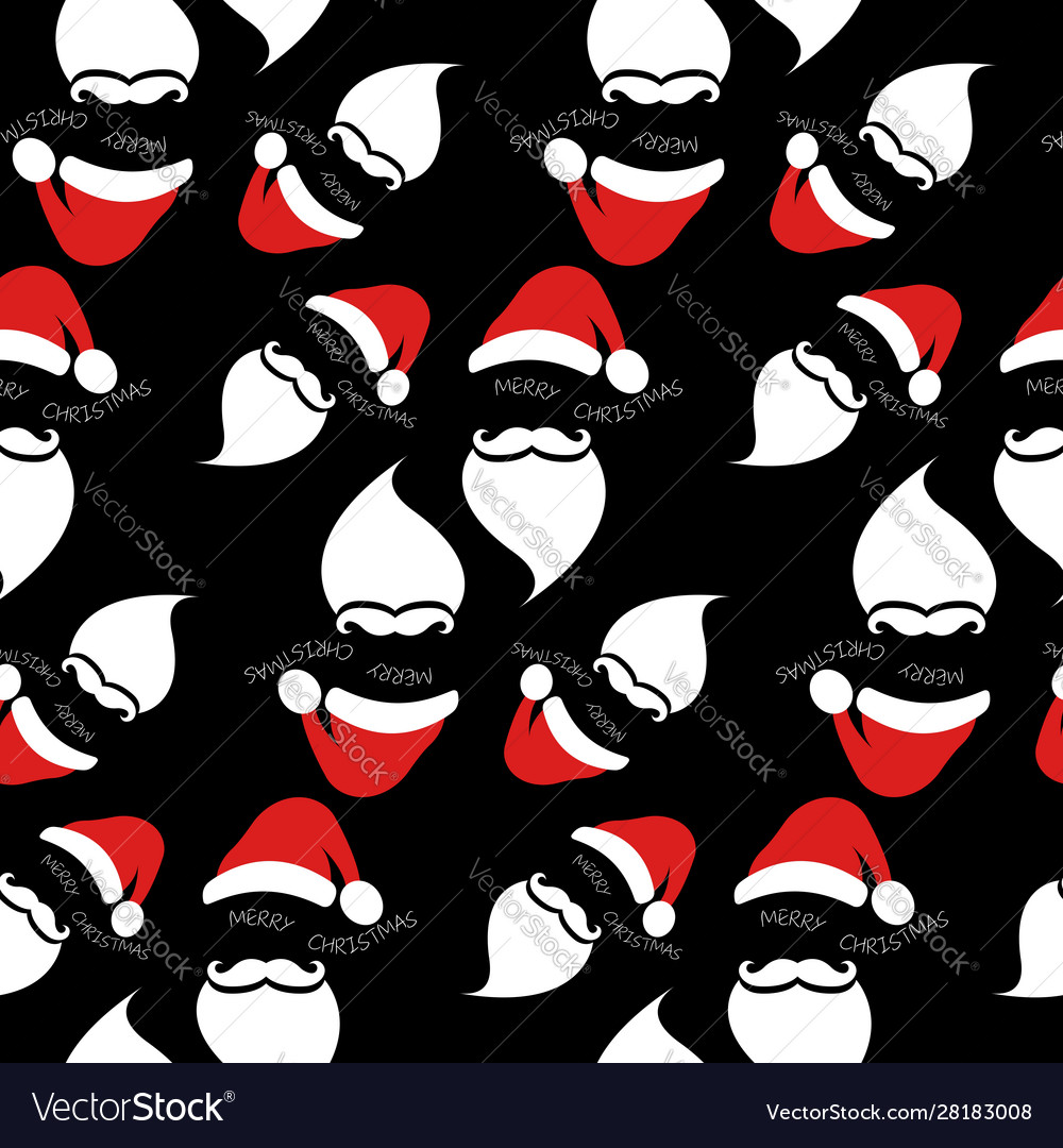 Santa claus with red hat and white beard seamless