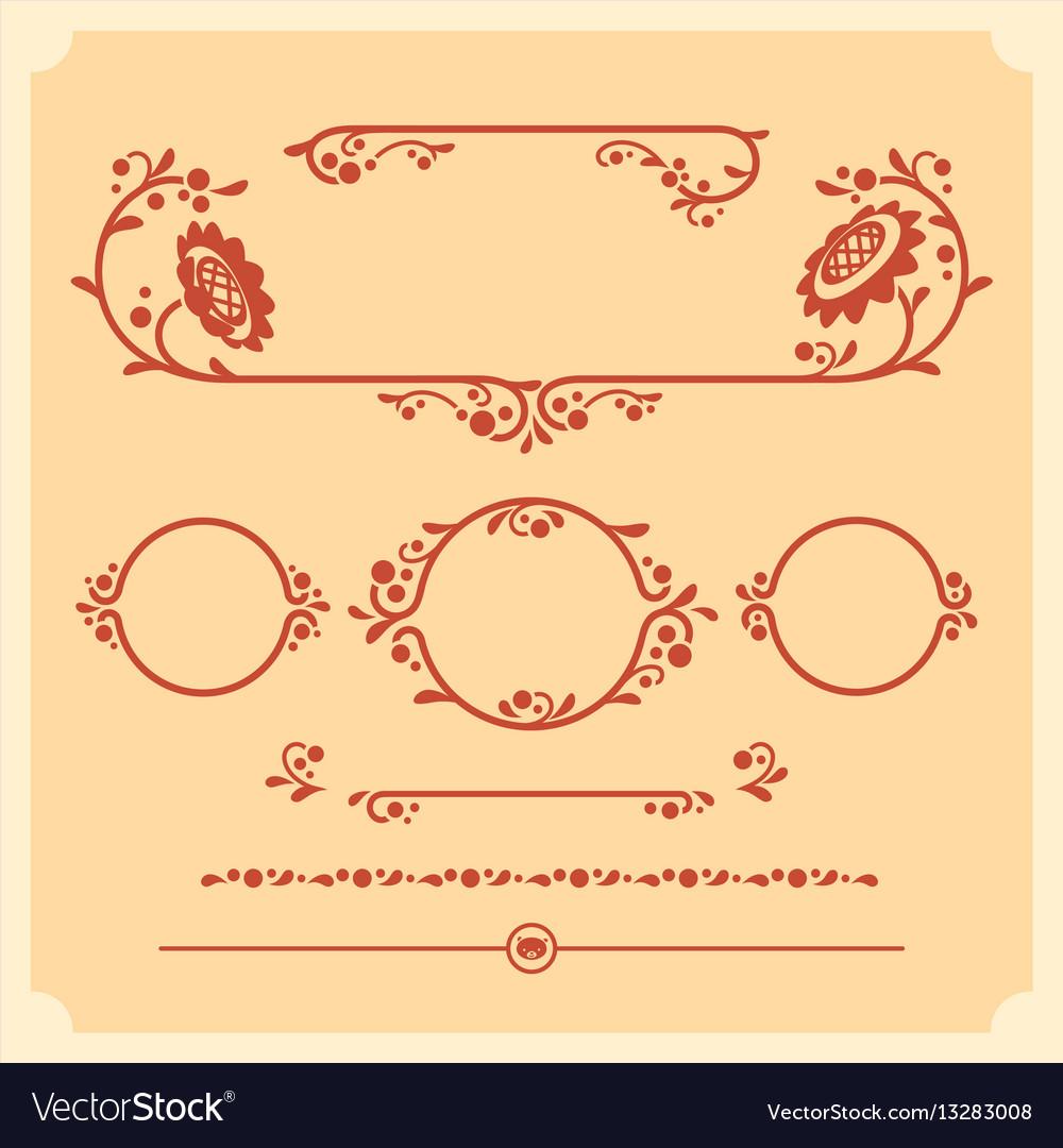 Set of decorative floral elements for