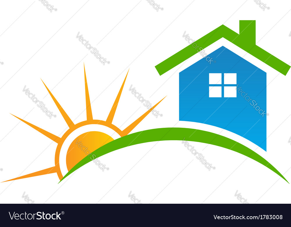 Style House with sun Logo vector image