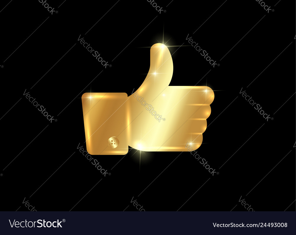 Thumb up symbol golden finger up icon