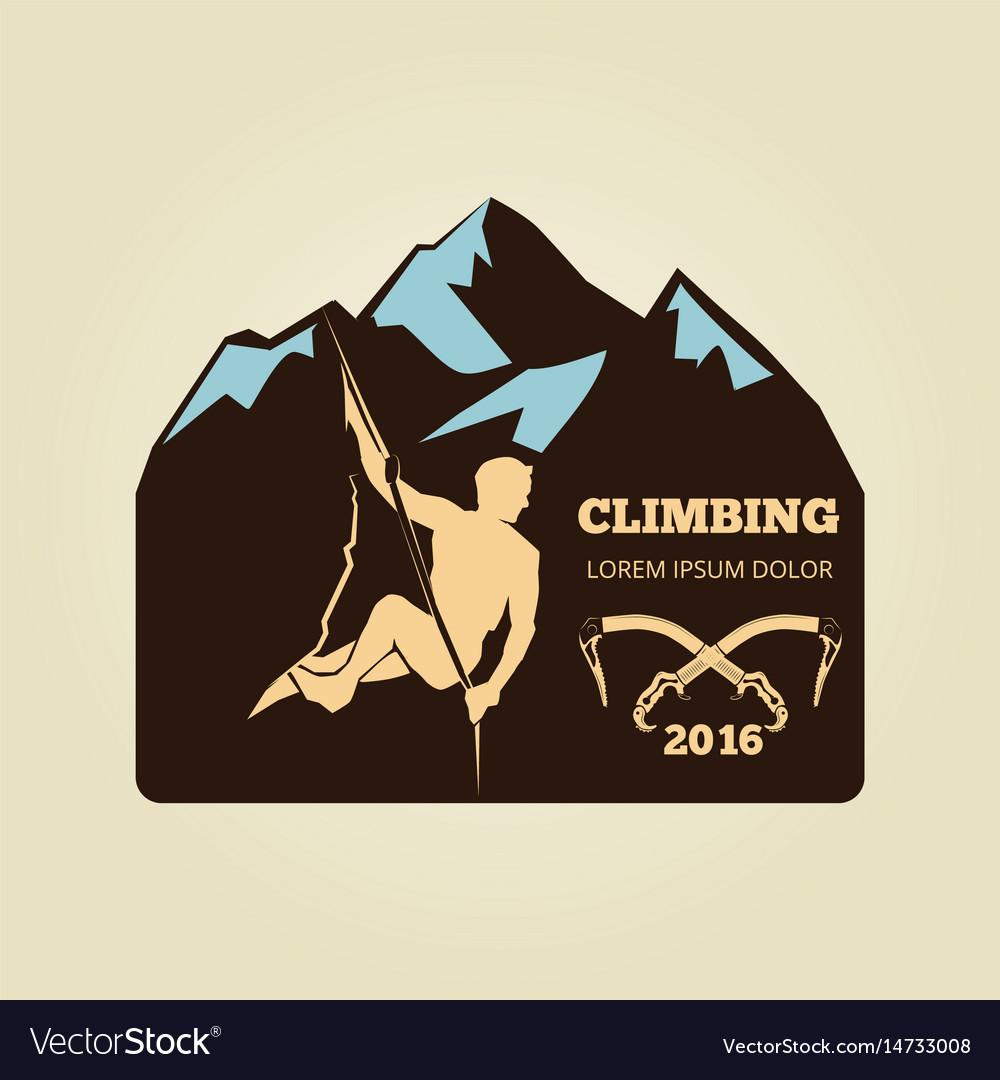 Vintage mountain climbing logo - sport activity