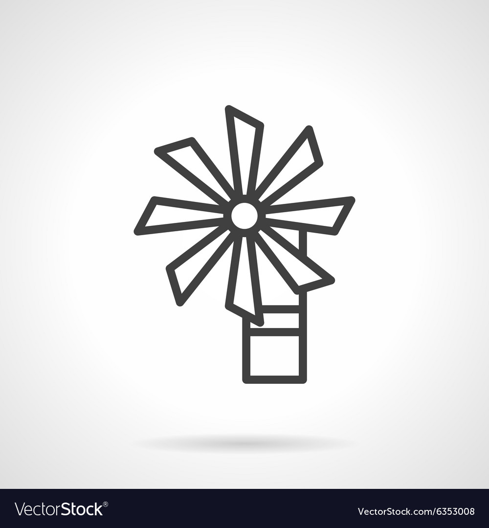 Wind Turbine Black Line Icon Royalty Free Vector Image