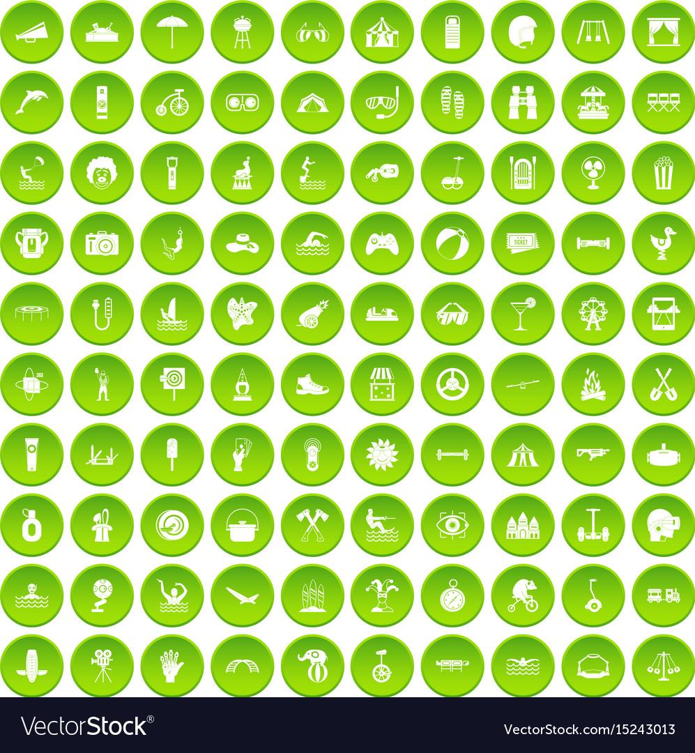 100 summer vacation icons set green circle vector image
