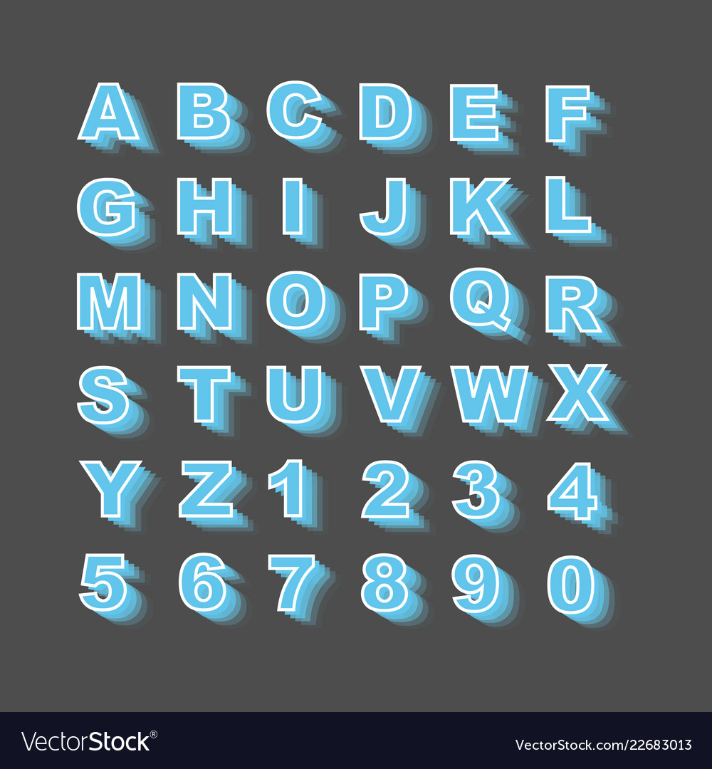 Alphabet simple style with shadows blue new
