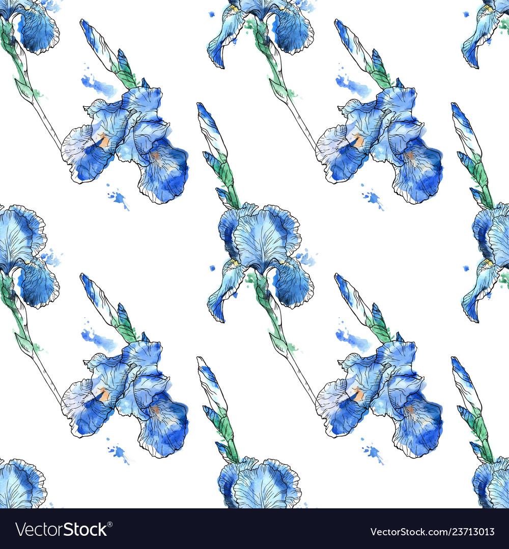 Beautiful seamless pattern of iris flowers