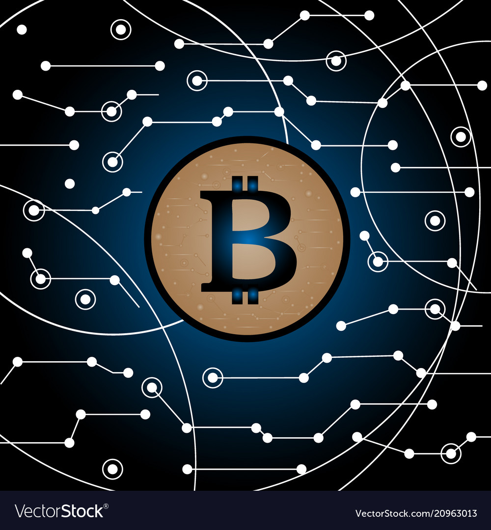 Bitcoin in the air technology background