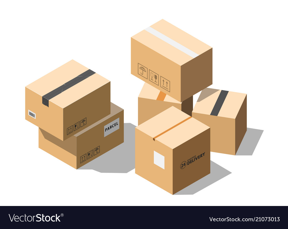 Isometric cardboard parcel boxes isolated