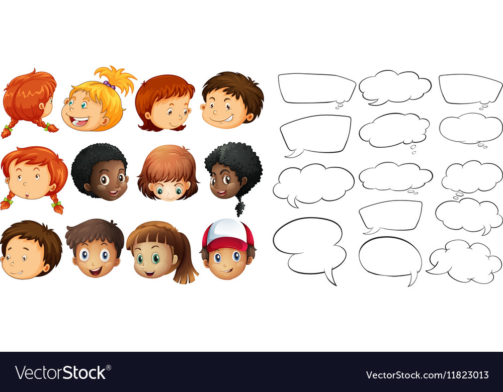 Kids and speech bubble templates